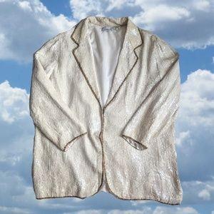 Vintage White Sequin Duster Jacket